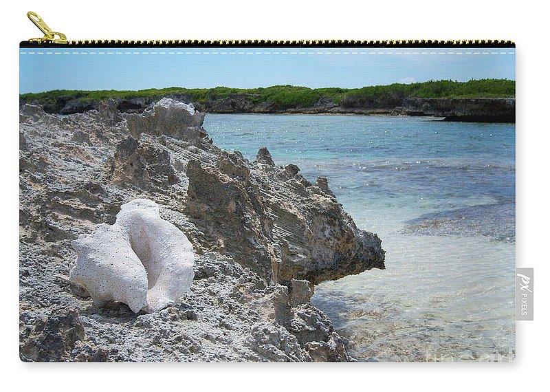 Shell Carry-all Pouch featuring the photograph Shell On Dominican Shore by Heather Kirk