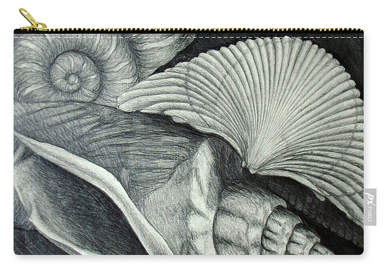 Shells Carry-all Pouch featuring the drawing Shells by Nancy Mueller