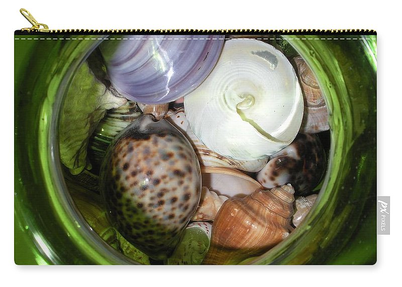 Sealife Carry-all Pouch featuring the photograph Shells Under Glass II by Maria Bonnier-Perez