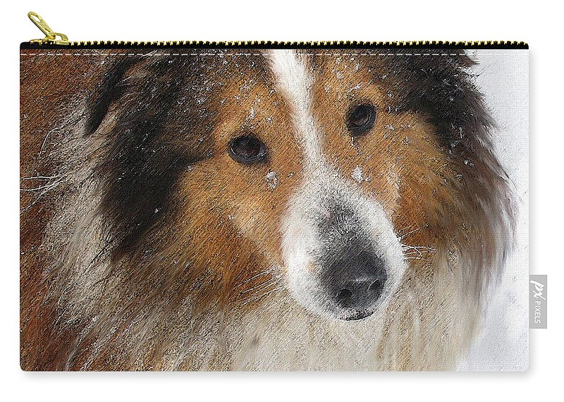 Winter Carry-all Pouch featuring the digital art Sheltie In The Snow by Jane Schnetlage