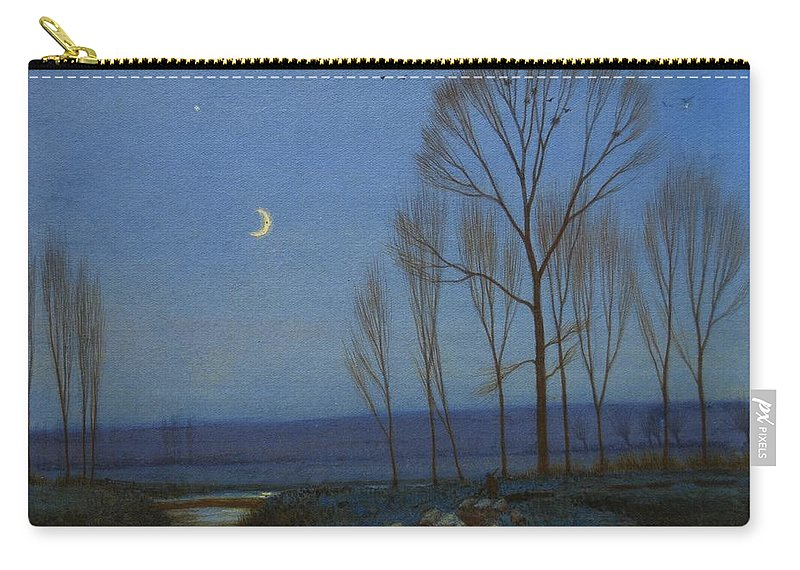 Woods Carry-all Pouch featuring the painting Shepherd And Sheep At Moonlight by OB Morgan