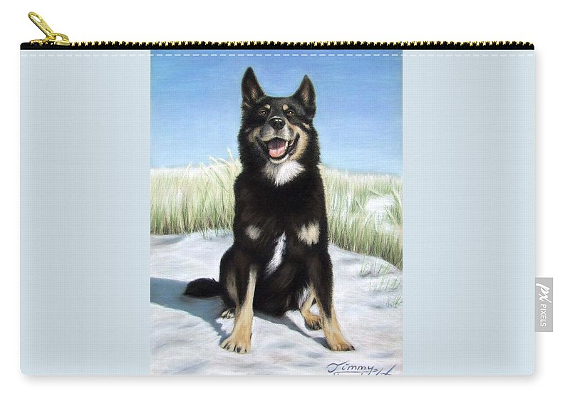 Dog Carry-all Pouch featuring the pastel Shepherd Mix Timmy by Nicole Zeug