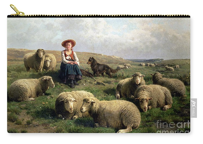 Shepherdess With Sheep In A Landscape By C. Leemputten (1841-1902) And Gerard Carry-all Pouch featuring the painting Shepherdess With Sheep In A Landscape by C Leemputten and T Gerard