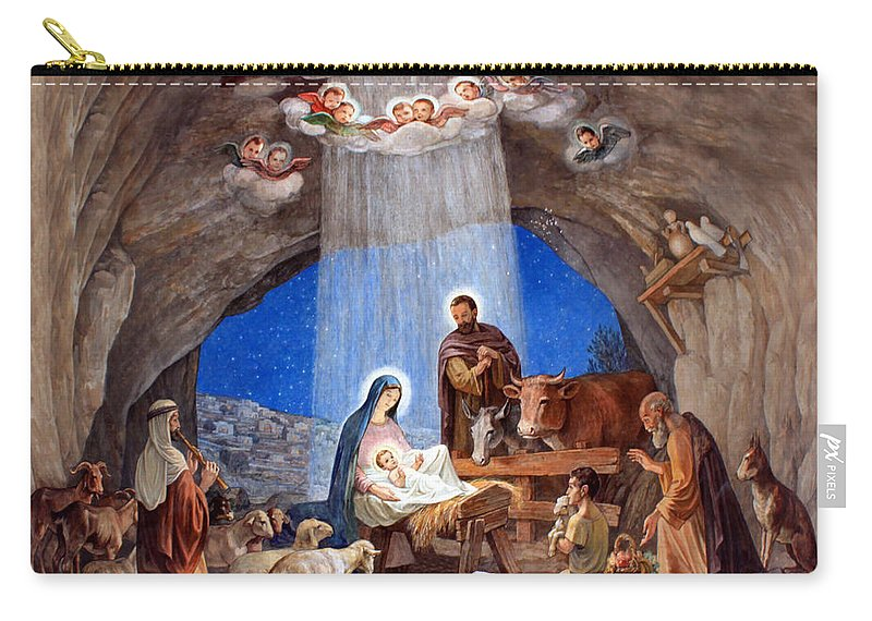 Photo Carry-all Pouch featuring the photograph Shepherds Field Nativity Painting by Munir Alawi