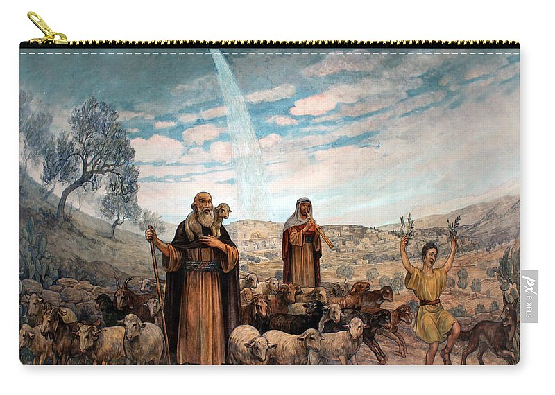 Photo Carry-all Pouch featuring the painting Shepherds Field Painting by Munir Alawi