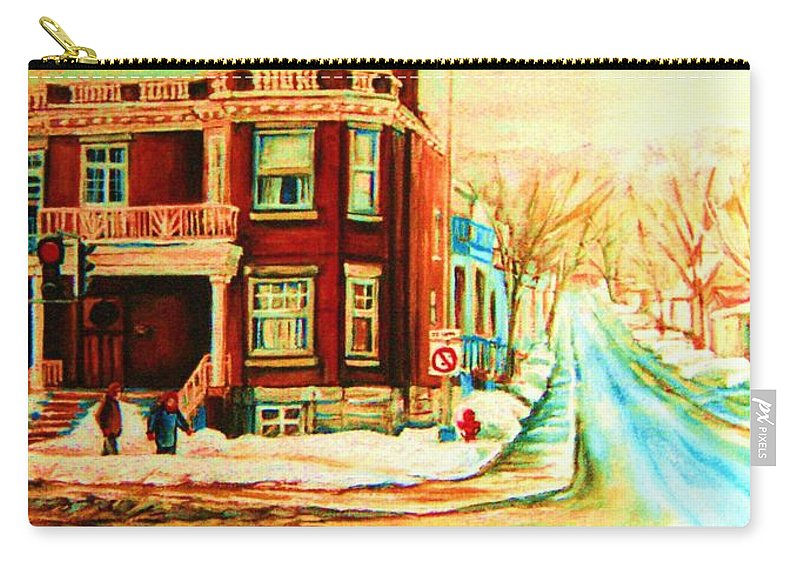 Montreal Carry-all Pouch featuring the painting Sherbrooke In Winter by Carole Spandau