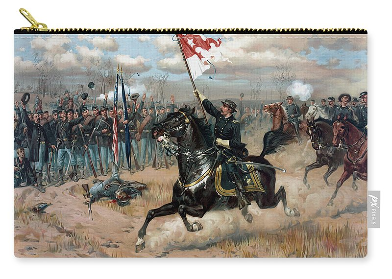 Philip Sheridan Carry-all Pouch featuring the painting Sheridan's Ride -- Civil War by War Is Hell Store
