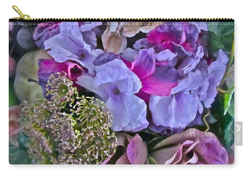 Flowers Carry-all Pouch featuring the photograph Sherry's Silks by Gwyn Newcombe
