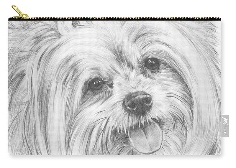 Designer Dog Carry-all Pouch featuring the drawing Shi-chi by Barbara Keith