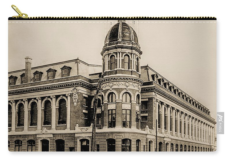 Shibe Carry-all Pouch featuring the photograph Shibe Park 1913 In Sepia by Bill Cannon