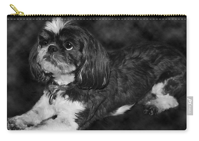 3scape Carry-all Pouch featuring the painting Shih Tzu by Adam Romanowicz