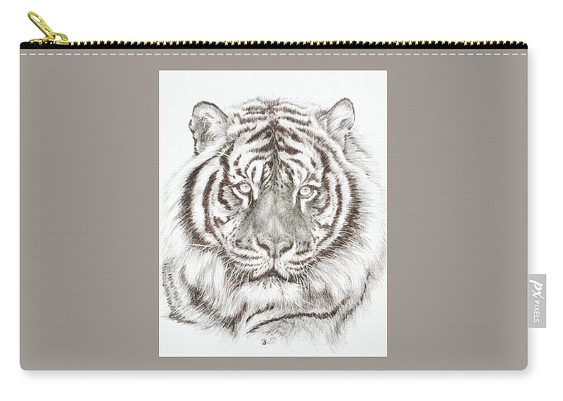Big Cat Carry-all Pouch featuring the drawing Shimmer by Barbara Keith