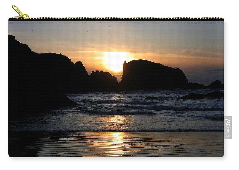 Sunset Carry-all Pouch featuring the photograph Shimmering Sands Sunset by Will Borden