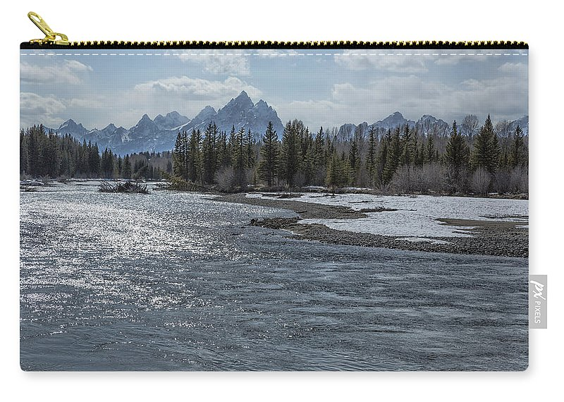 Snake River Carry-all Pouch featuring the photograph Shimmering Snake River And The Tetons by Belinda Greb