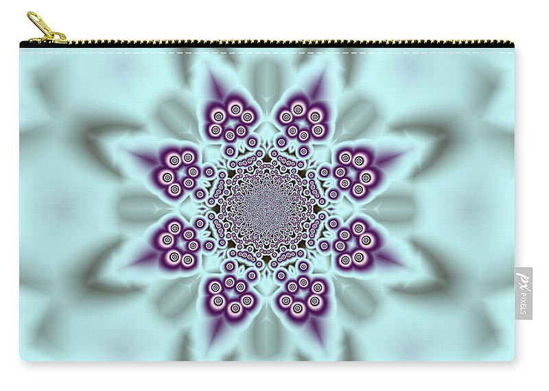 Art Carry-all Pouch featuring the digital art Shimmering Snowflake by Candice Danielle Hughes