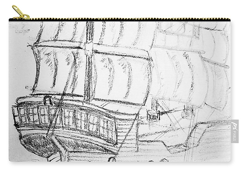 Ship Carry-all Pouch featuring the drawing Ship At Sea by Richard Howell