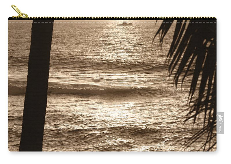 Hawaii Carry-all Pouch featuring the photograph Ship In Sunset by Marilyn Hunt