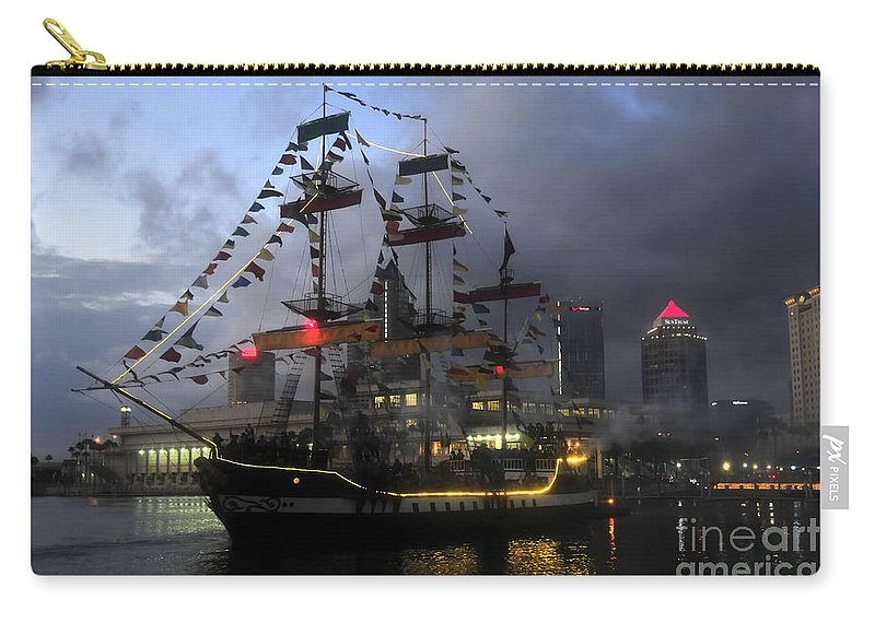 Tampa Bay Florida Carry-all Pouch featuring the photograph Ship In The Bay by David Lee Thompson