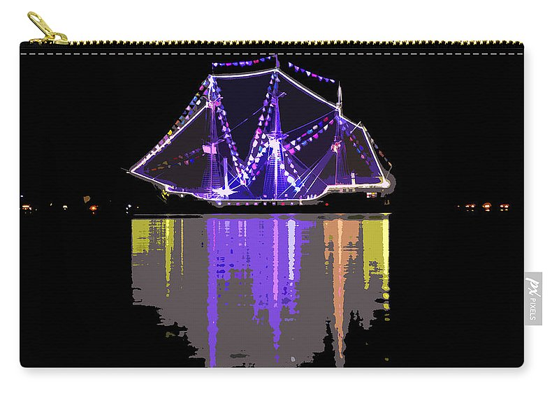 Ship Night Carry-all Pouch featuring the painting Ship In The Harbor by David Lee Thompson