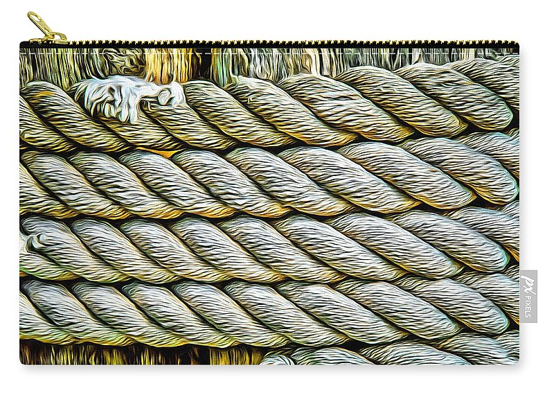 Ship Rope Carry-all Pouch featuring the photograph Ship Rope Anchored by Roxy Hurtubise