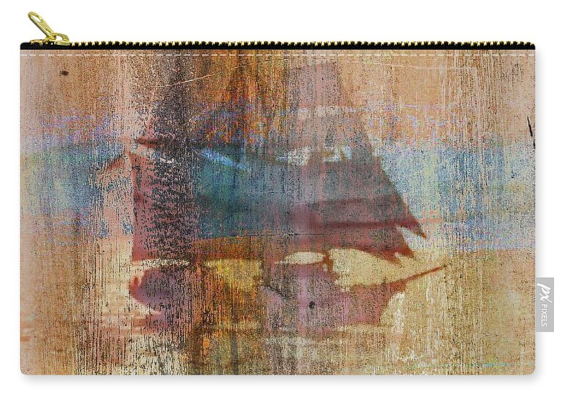 Tall Ship Carry-all Pouch featuring the digital art Shipping News by Ellen Cannon