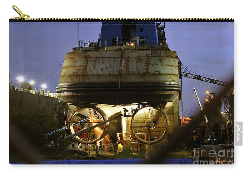 Shipyard Carry-all Pouch featuring the photograph Shipyard Work by David Lee Thompson