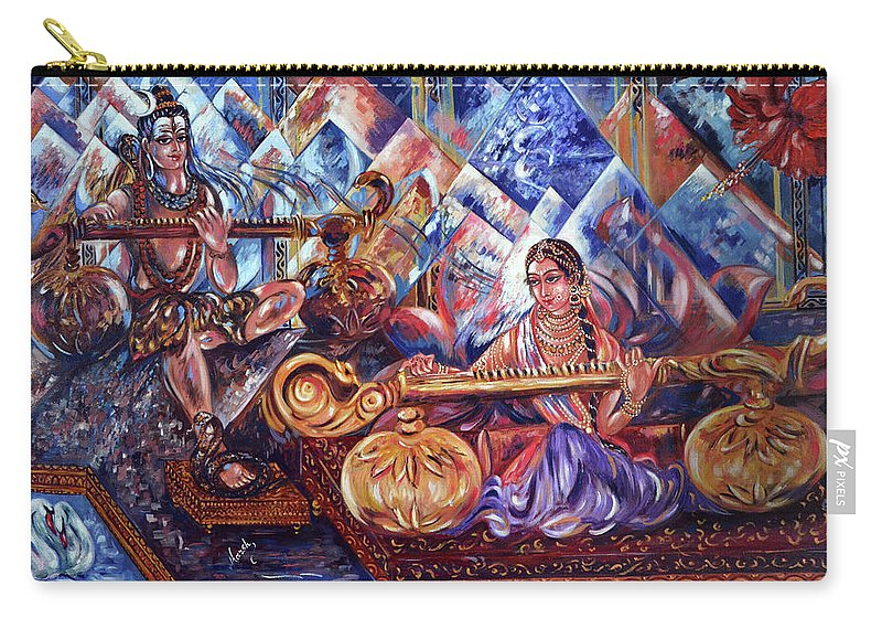 Shiva Carry-all Pouch featuring the painting Shiva Parvati by Harsh Malik
