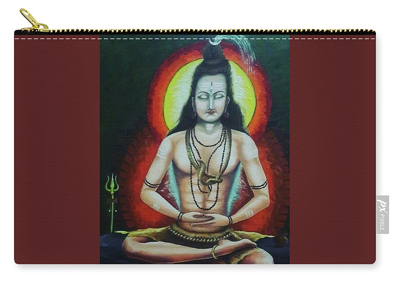 Its Original Painting Of God Shiva Carry-all Pouch featuring the painting Shiva by Sachin Kadam