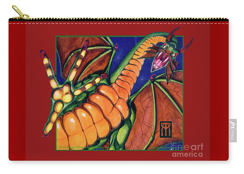 Shivan Dragon Carry-all Pouch featuring the mixed media Shivan Dragon by Melissa A Benson
