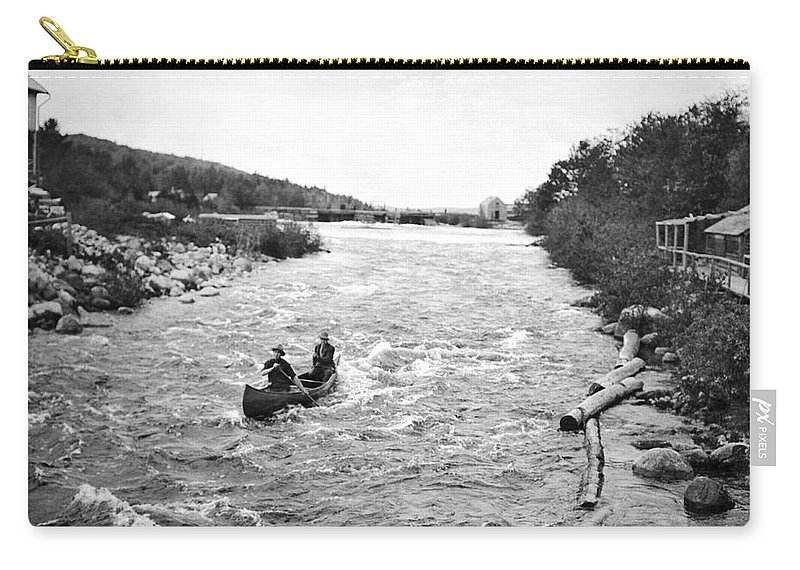 1910s Carry-all Pouch featuring the photograph Shooting The Rapids In Maine by Underwood Archives
