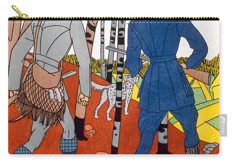 Art Deco Carry-all Pouch featuring the painting Shooting Trip by Maurice Taquoy
