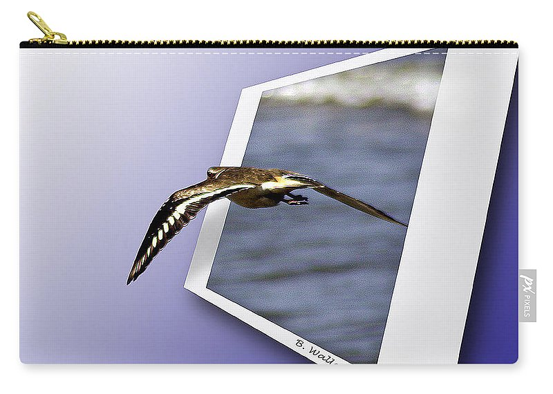 2d Carry-all Pouch featuring the photograph Shore Bird In Flight by Brian Wallace
