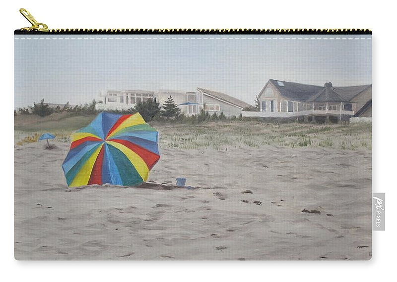 Beach Umbrella Carry-all Pouch featuring the painting Shore Dreams by Lea Novak