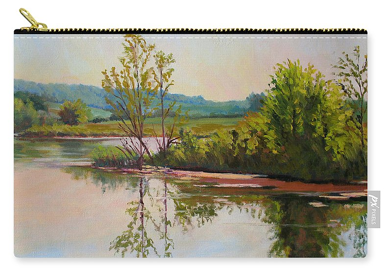 Impressionism Carry-all Pouch featuring the painting Shoreline At Evening by Keith Burgess