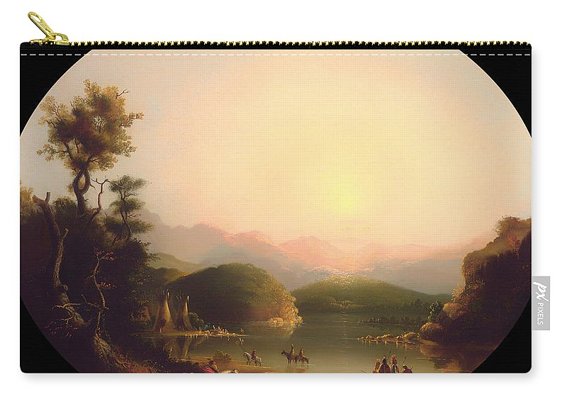Painting Carry-all Pouch featuring the painting Shoshone Indians At A Mountain Lake by Mountain Dreams