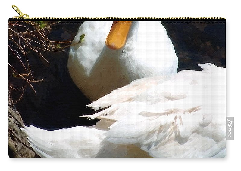 Duck Carry-all Pouch featuring the painting Should I by RC DeWinter