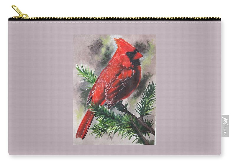 Cardinal Carry-all Pouch featuring the painting Show-off by Barbara Keith