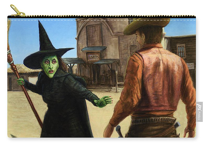 Oz Carry-all Pouch featuring the painting Showdown by James W Johnson
