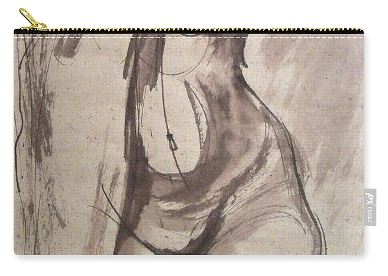 Showing Figure Carry-all Pouch featuring the painting Showing Figure - Sketch Of A Female Nude by Carmen Tyrrell