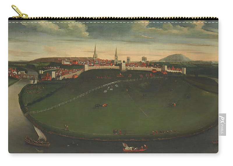 Painting Carry-all Pouch featuring the painting Shrewsbury And River Severn by Mountain Dreams