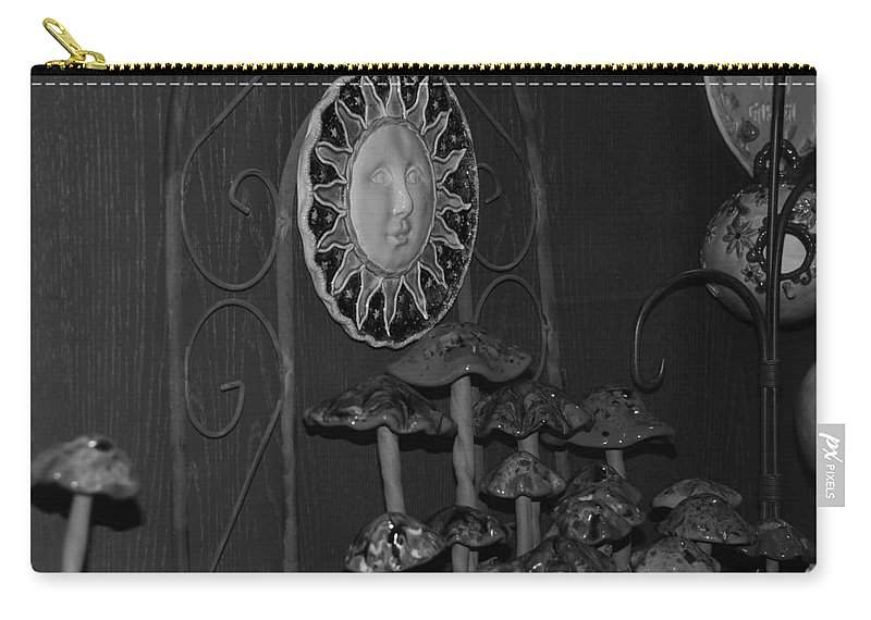Black And White Carry-all Pouch featuring the photograph Shrooms And Sun by Rob Hans