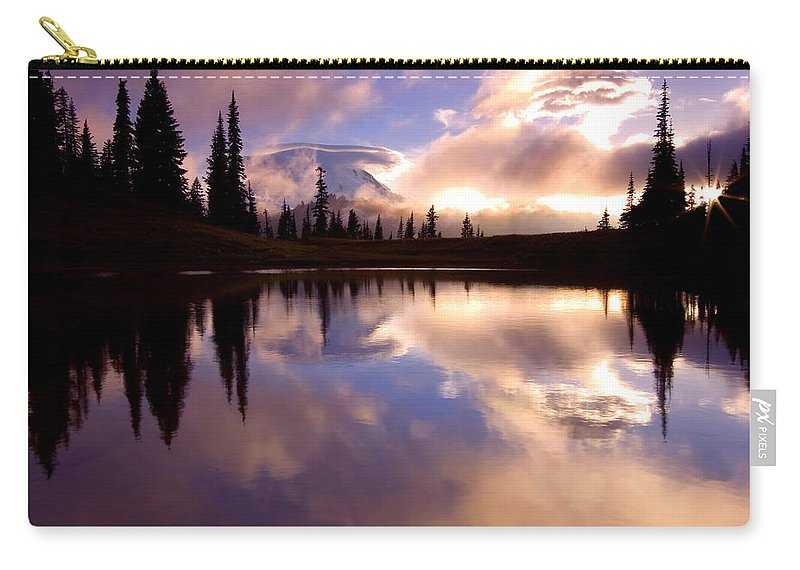 Rainier Carry-all Pouch featuring the photograph Shrouded In Clouds by Mike Dawson