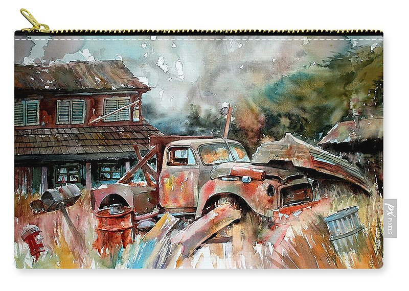 Truck Carry-all Pouch featuring the painting Shuttered And Cluttered And Gone by Ron Morrison
