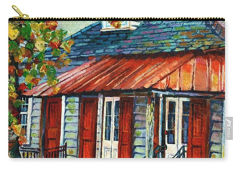 House Carry-all Pouch featuring the painting Shuttered Red by Lisa Tygier Diamond