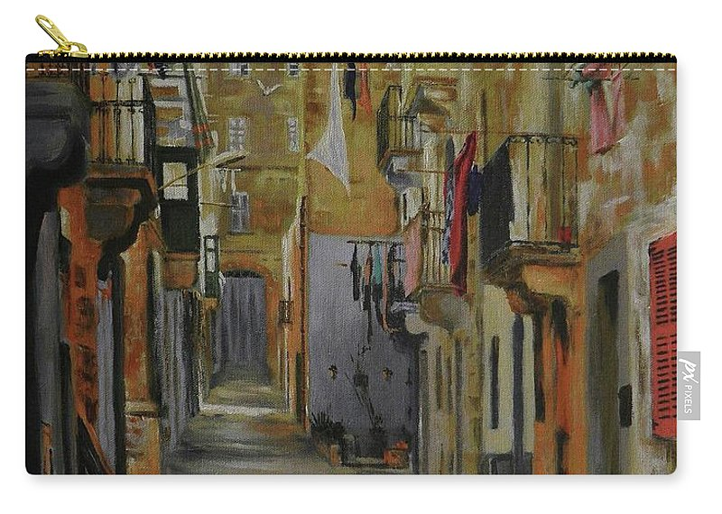 Siesta Time. Valletta Siesta. Alley In Valletta.. Carry-all Pouch featuring the painting Si Esta. by Tony Calleja