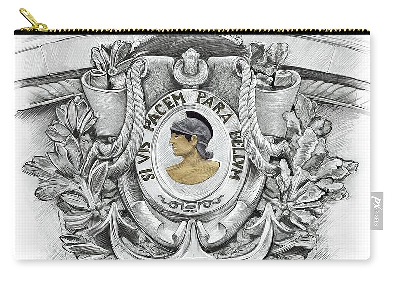 Si Vis Pacem Carry-all Pouch featuring the drawing Si Vis Pacem Para Bellum by Doug LaRue