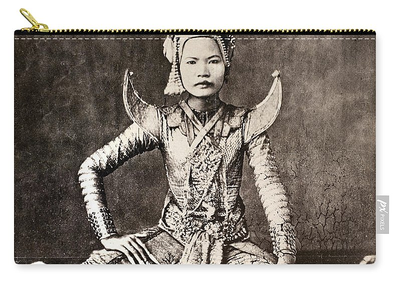 1870 Carry-all Pouch featuring the photograph Siam: Dancer, C1870 by Granger
