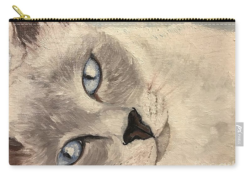 Cat Carry-all Pouch featuring the painting Siamese Cat by Boni Arendt