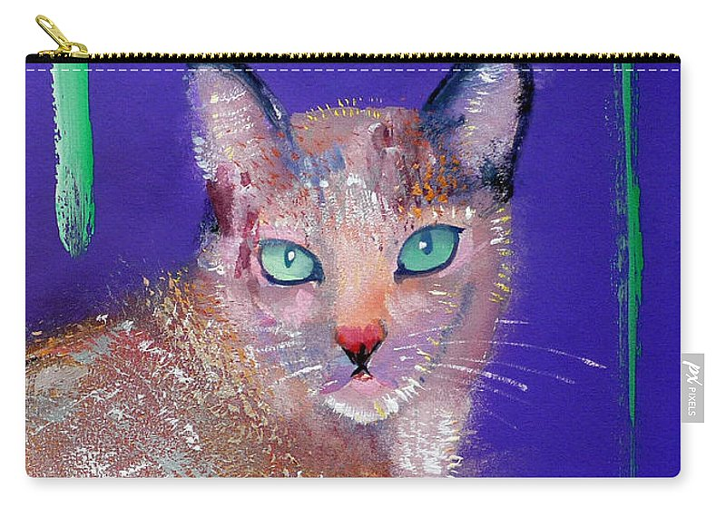 Cat Carry-all Pouch featuring the painting Siamese Cat by Charles Stuart