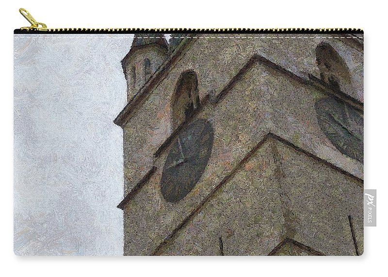 Sibiu Carry-all Pouch featuring the painting Sibiu Clock Tower by Jeffrey Kolker